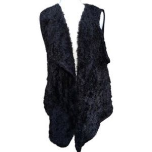 Style & Co. Faux Fur open knit Shaw collar